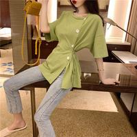 女性服 夏 新しいデザイン アンティーク調 ルース 着やせ 不規則な ボタン ひもあり
