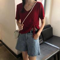 夏 新しいデザイン 韓国風 襟 引きひも 薄いスタイル トップス 短いスタイル 半袖 シ