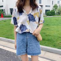 夏 新しいデザイン 韓国風 学生シャツ 味 プリント デザイン 感 半袖のワイシャツ 女