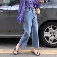 カジュアルパンツ 女 秋 新しいデザイン 女性服 韓国風 ハイウエスト 水洗い アンティ