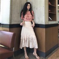 春夏 新しいデザイン セット 女 韓国風 何でも似合う 半袖Tシャツ レース 半身 フィ