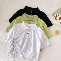 夏 新品 韓国風 若いもの カラー ボタン 襟 折り畳む 引きひも ひもあり 短いスタイ