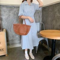 夏 新しいデザイン 韓国風 法 国 小 気質 ラペル ウエストマーク 着やせ 半袖 ワン