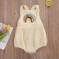 【即納】cotton linen baby rompers