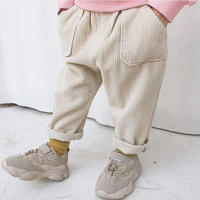 (即納)corduroy tuck pants