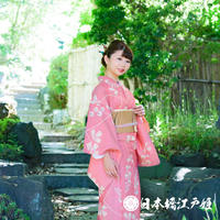 0182 夏物 小紋 Aランク美品 薄物 絽 正絹 薄赤 草花 身丈151cm