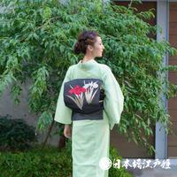 0281 夏物 名古屋帯 Aランク美品 正絹 黒 杜若 菖 お太鼓柄 帯丈352cm