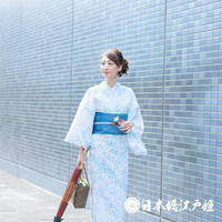 0233 夏物 小紋 薄物 絽 化繊 白 蜻蛉 草花 身丈156cm