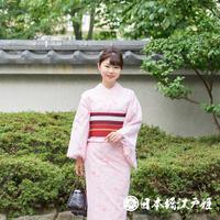 0216 夏物 小紋 Aランク美品 薄物 化繊 ピンク 桜 身丈156cm