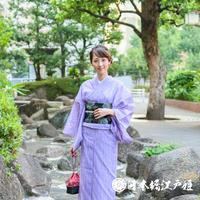 0221 夏物 小紋 絽 化繊 紫 幾何学 身丈156.5cm