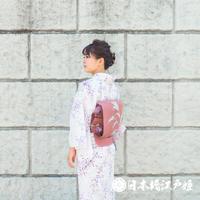 0205 夏物 袋名古屋帯 優品 正絹 絽 ピンク お太鼓柄 草花 帯丈360cm