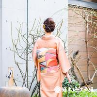 0142 名古屋帯 正絹 橙色 扇 松葉仕立て 六通し 帯丈358cm