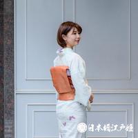0207 夏物 名古屋帯 正絹 薄物 赤茶 金糸 格子 六通し 帯丈349.5cm