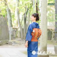 0211 夏物 名古屋帯 Aランク美品 紬地 正絹 橙色 幾何学 お太鼓柄 帯丈377cm
