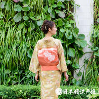0295 名古屋帯 正絹 刺繍 花丸紋 銀糸 六通し 帯丈351cm