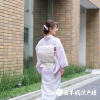0253 夏物 袋帯 名品 正絹 紗 薄ピンク 籬 草花 菊 萩 銀糸 六通し 帯丈432cm
