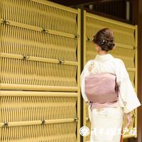 0078 名古屋帯 Aランク美品 正絹 薄赤紫 抽象 幾何学 お太鼓柄 帯丈348cm