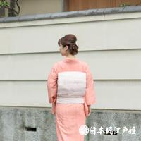 0242 夏物 名古屋帯 優品 絽 正絹 薄ピンク 楓 流水 橋 引箔 六通し 帯丈370cm