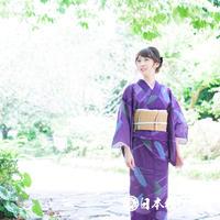0184 夏物 小紋 Aランク美品 薄物 絽 化繊 紫 幾何学 身丈160cm