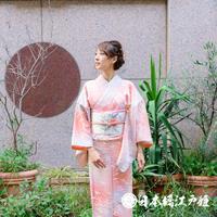0312 小紋 優品 正絹 袷 ピンク 鶴 梅 身丈152cm