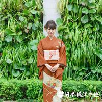0110 付け下げ 正絹 袷 煉瓦色 草花 巻物 竹 牡丹 楓 金彩 身丈160cm