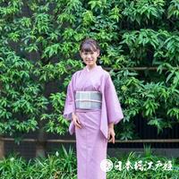 0274 夏物 小紋 薄物 絽 化繊 薄紫 草花 身丈156.5cm