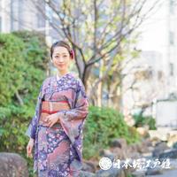 0043  小紋 優品 Aランク美品 正絹 袷 青紫 ピンク 草花 身丈158.5cn