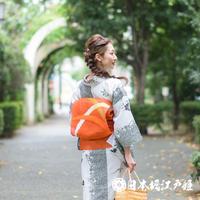 0244 夏物 袋帯 新品同様Sランク美品 正絹 羅 オレンジ色 芝草文 お太鼓柄 帯丈430cm