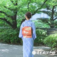 0195 夏物 名古屋帯 優品 絽 正絹 橙色 蝶 幾何学 引き箔 六通し 帯丈336cm