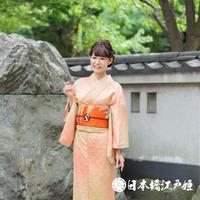 0061 付け下げ 正絹 袷 薄ピンク 菊青海波 身丈153cm
