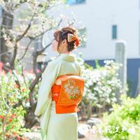 0021  名古屋帯 Aランク美品 正絹 橙色 草花 お太鼓柄 帯丈349.5cm