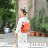 0258 夏物 名古屋帯 優品 Aランク美品 正絹 赤茶色 草花 桔梗 全通し 帯丈356.5cm