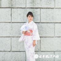 0204 夏物 小紋 薄物 絽 化繊 薄ピンク 花びら 身丈158.5cm
