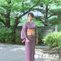 0196 夏物 小紋 薄物 紗 正絹 紫 幾何学 身丈157cm