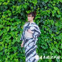 0261 夏物 小紋 Aランク美品 薄物 絽 化繊 黒草花 道長取り 椿 麻の葉 身丈157cm