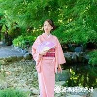 0180  夏物 色無地 薄物 絽 化繊 ピンク 身丈156cm