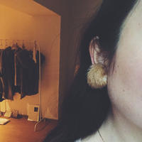 mink fur earring   , brown