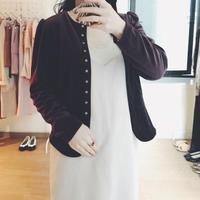 used brown ベロア puff sleeve blouse