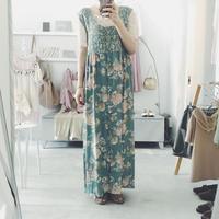 used 花柄 ワンピース moss green