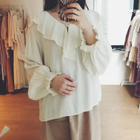 used 生成り frill collar blouse
