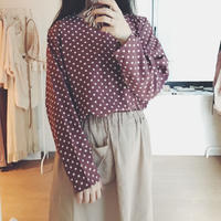 used mauve dot pullover blouse