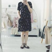 used お花柄 ワンピース black