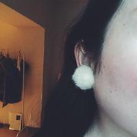 mink fur earring  , ivory