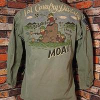 米軍 ファティーグジャケット Lサイズ40 モアイ 猿  ミリタリージャケット M-65 手描き  春物 松岡佳博