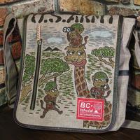 BC+ISHUTAL ショルダーバッグ ハンドペイント キリン 猿 USARMY ブラウン 松岡佳博