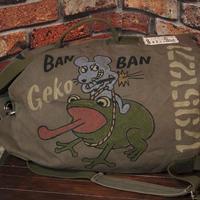 ミリタリー ダッフルバッグ 手描き カエル ネズミ キャンバス 厚地コットン