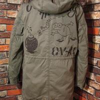 レディース モッズコート Lサイズ3 アバハウス カエル USN 手描き 冬物 松岡佳博