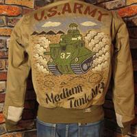 リアルマッコイズ タンカースジャケット Mサイズ36 戦車 ミリタリージャケット USARMY カーキ 手描き 松岡佳博