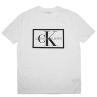 CALVIN KLEIN JEANS MEN'S  BOX MONOGRAM LOGO MESH CREWNECK TEE カルバンクラインジーンズ  メンズ  半袖 Tシャツ CK116 WHITE