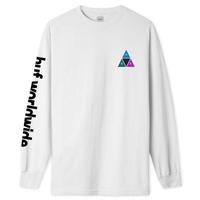 HUF PRISM TRIPLE TRIANGLE L/S TEE TS00938 ハフ ロンティー メンズ  ロンT 長袖Tシャツ / HUF170 WHITE